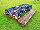 Ambesonne Modern Outdoor Tablecloth, Teenager Style Image Street Wall Graffiti Graphic Colorful Design Artwork Print, Decorative Washable Picnic Table Cloth, 58 X 84 inches, Multicolor