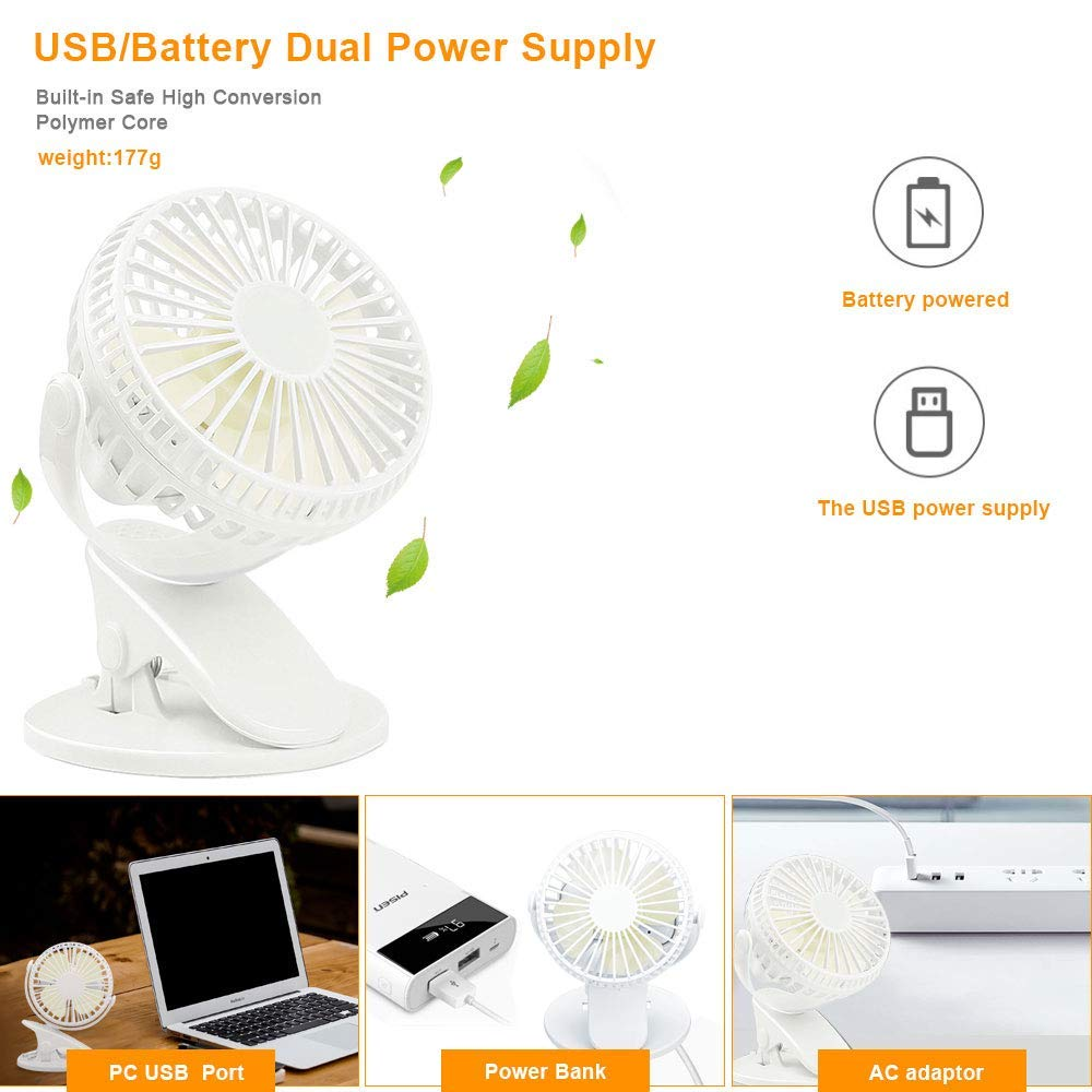 Vegena USB Fan,Desk Usb Powered Oscillating Clip Fan Mini Portable Fan Quiet Operation Personal Fans 360/° Rotating Adjustable Angle With 3 Speeds for Home Office Baby Stroller Outdoor Traveling