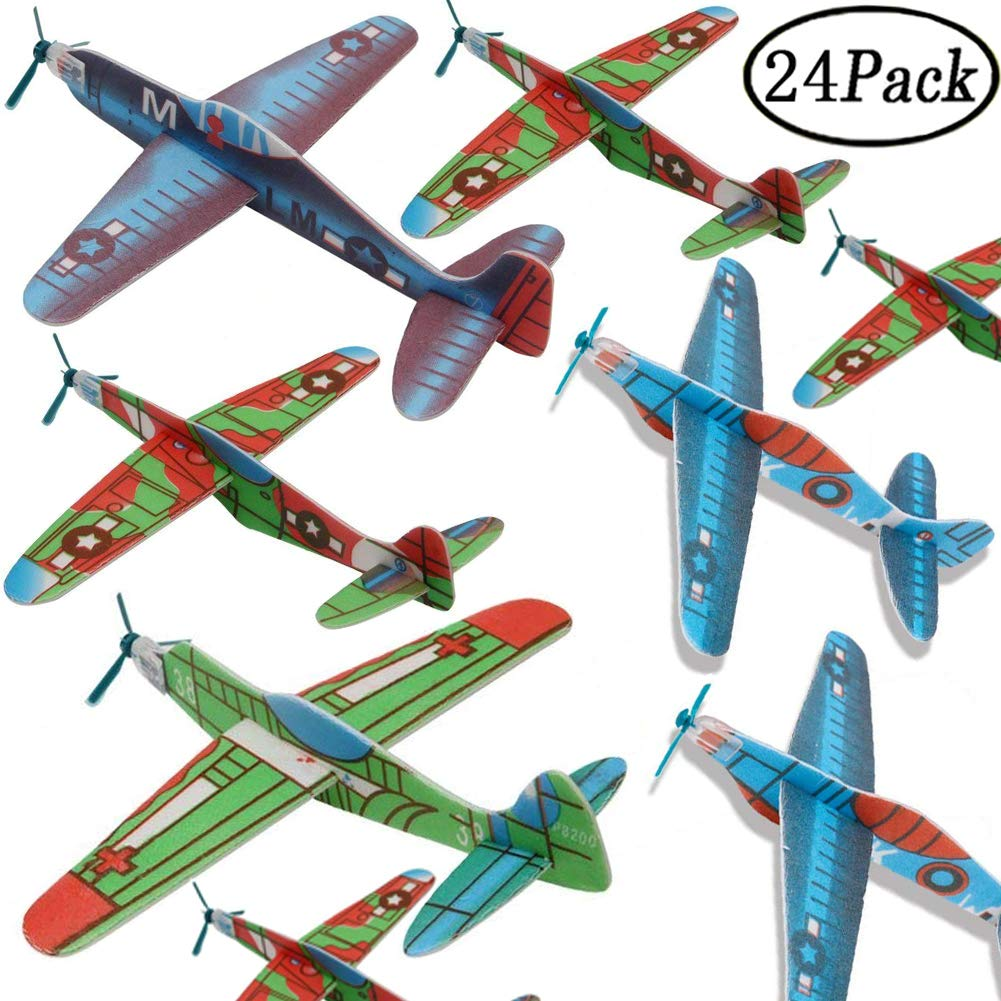 BESTZY Gliders Planes ,Plane Glider, Foam Gilder Plane,Glider Plane Toy Gliding Airplanes for Children as a Prize and a Present for The Children's Birthday (Glider Plane 24P)