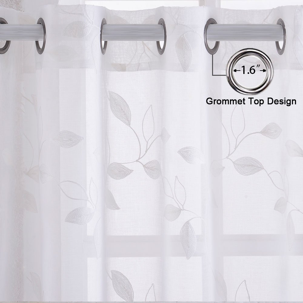 Set of 2 Rod Pockrt Floral Half Window Voile Kitchen Cafe Curtains Leaves Pattern Matched Grey Ribbon Embroidery Short Window Curtain Haperlare Embroidered Sheer Tier Curtains White 26 x 24