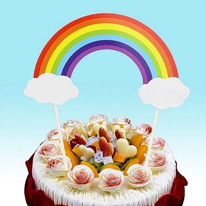 Amazon 1 Piece 1pc Beautiful Rainbow Clouds Cupcake Cake Topper
