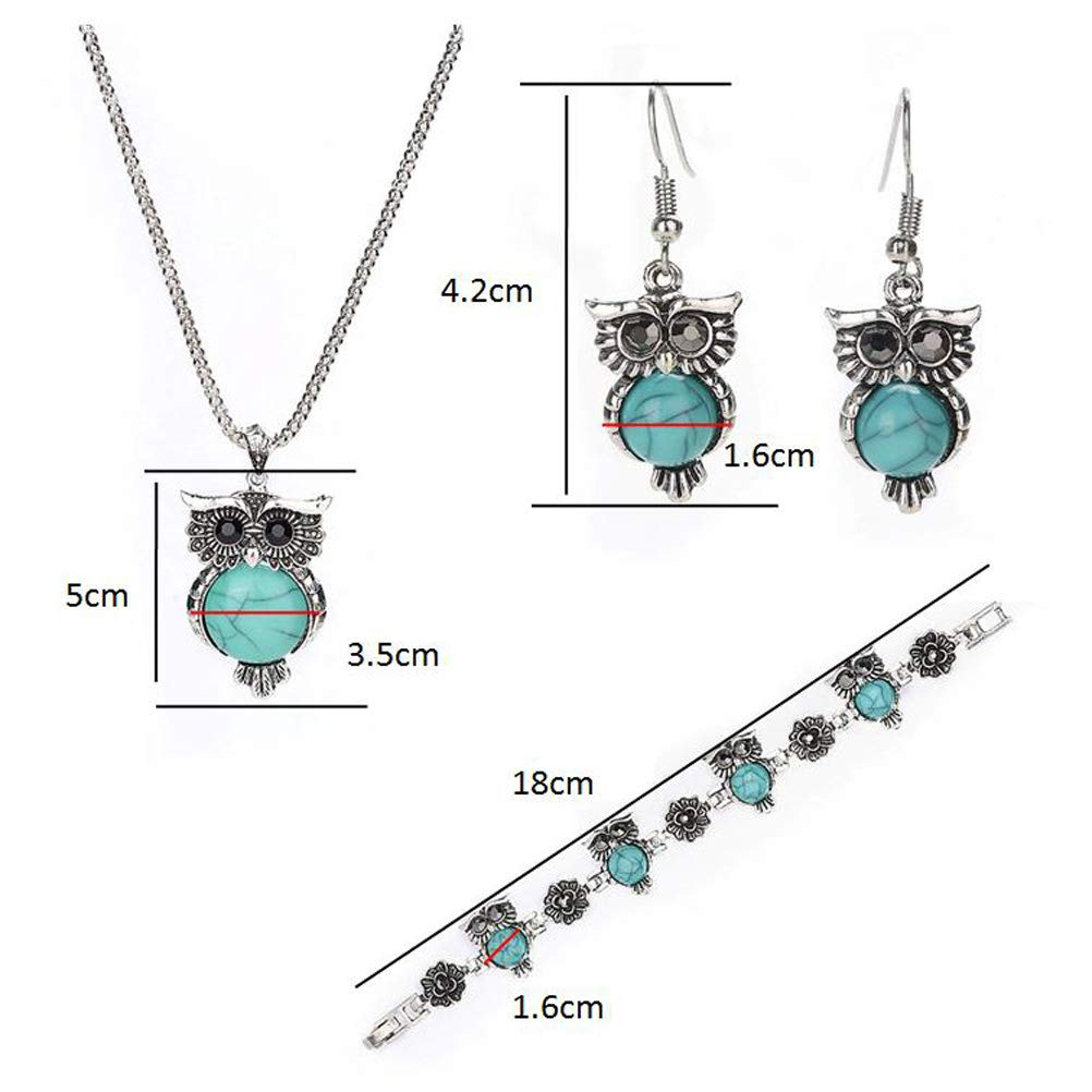 547a77bcd233 Set of 3pcs Jewelry Set Retro Turquoise Stone Owl Pendant Necklace Drop  Earrings Charm Bracelet  Amazon.in  Toys   Games