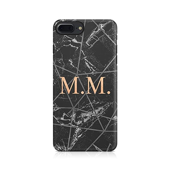 d546b2f5f6ea2 Personalised Customizable Letters Name Initials Custom Quote Black  Geometric Marble Protective Hard Plastic Case Cover for iPhone 7  Plus/iPhone 8 Plus