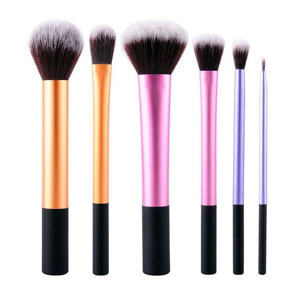 Rocita Set di pennelli da trucco, spazzole di trucco attrezzi professionale peli naturali fibra sintetica morbida per le Facial, Multicolore/6pcs