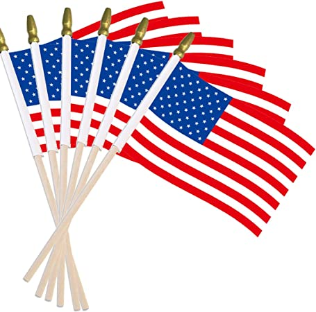 "4 Pack of Handheld US Flags Size 4/"" x 6/"" for 4th of July or Memorial Day or Both"