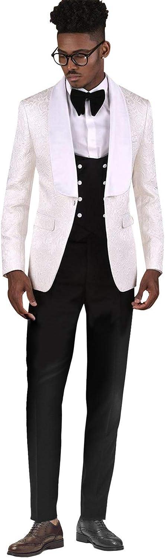 QZI Homme Costume Jacquard ch/âle Revers Un Bouton Trois pi/èces Ensemble