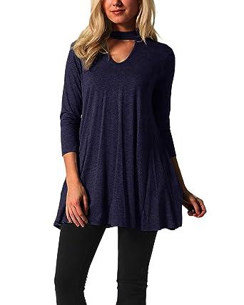 YOINS Damen Tshirt Kleider Langarm Sexy Kleid für Damen V-Ausschnitt Langes  Kleid mit Ärmeln  Amazon.de  Bekleidung 0dda0e4b2d
