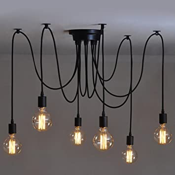 6 heads vintage industrial edison ceiling lamp chandelier pendant 6 heads vintage industrial edison ceiling lamp chandelier pendant light fixture amazon aloadofball Image collections
