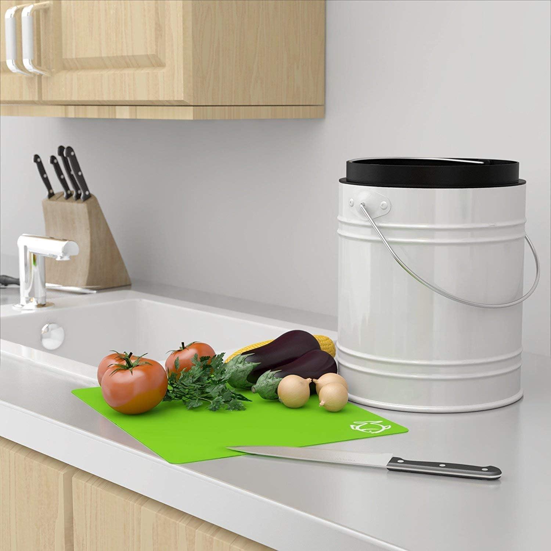 20 Liter Küchen Bio Mülleimer und geruchsdichter Komposter Eimer mit  Aktivkohlefilter im Deckel – Biomülleimer Mülltonne mit Kunststoff  Inneneimer –