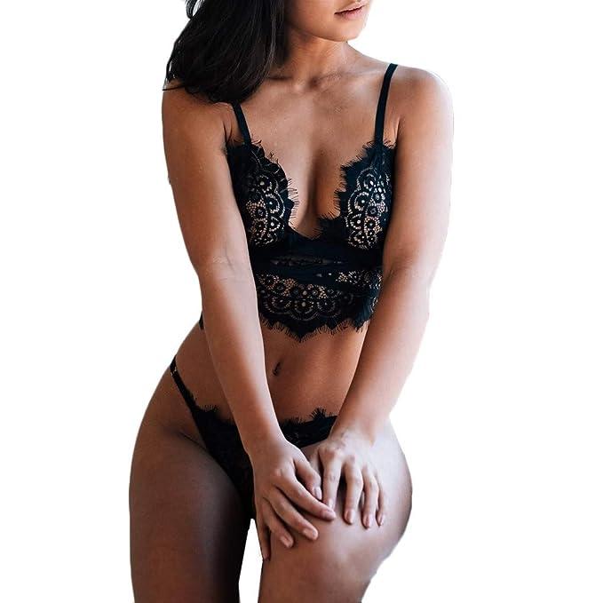 ... Interior Conjuntos de lencería Mujer erótico Lencería tentación Disfraces Mujer lencería Erotica Top Sujetador y Tanga: Amazon.es: Ropa y accesorios
