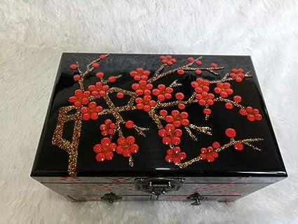 GLJ Caja de joyería Pintada a Mano de la Laca del Empuje de Madera con la