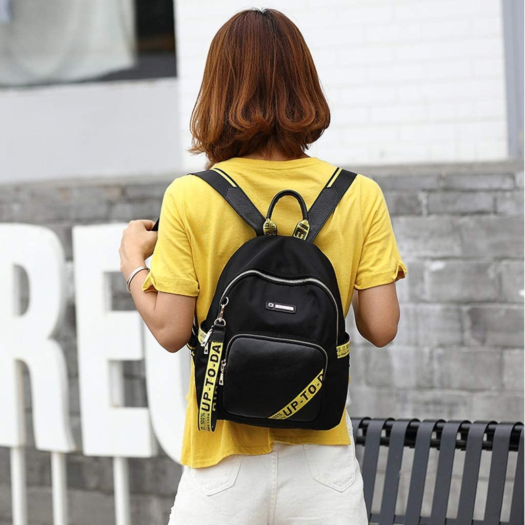 C /& S Shoulder Bag Nylon Impact Color Woven Belt Lady Outdoor Shopping Leisure Backpack Large Capacity