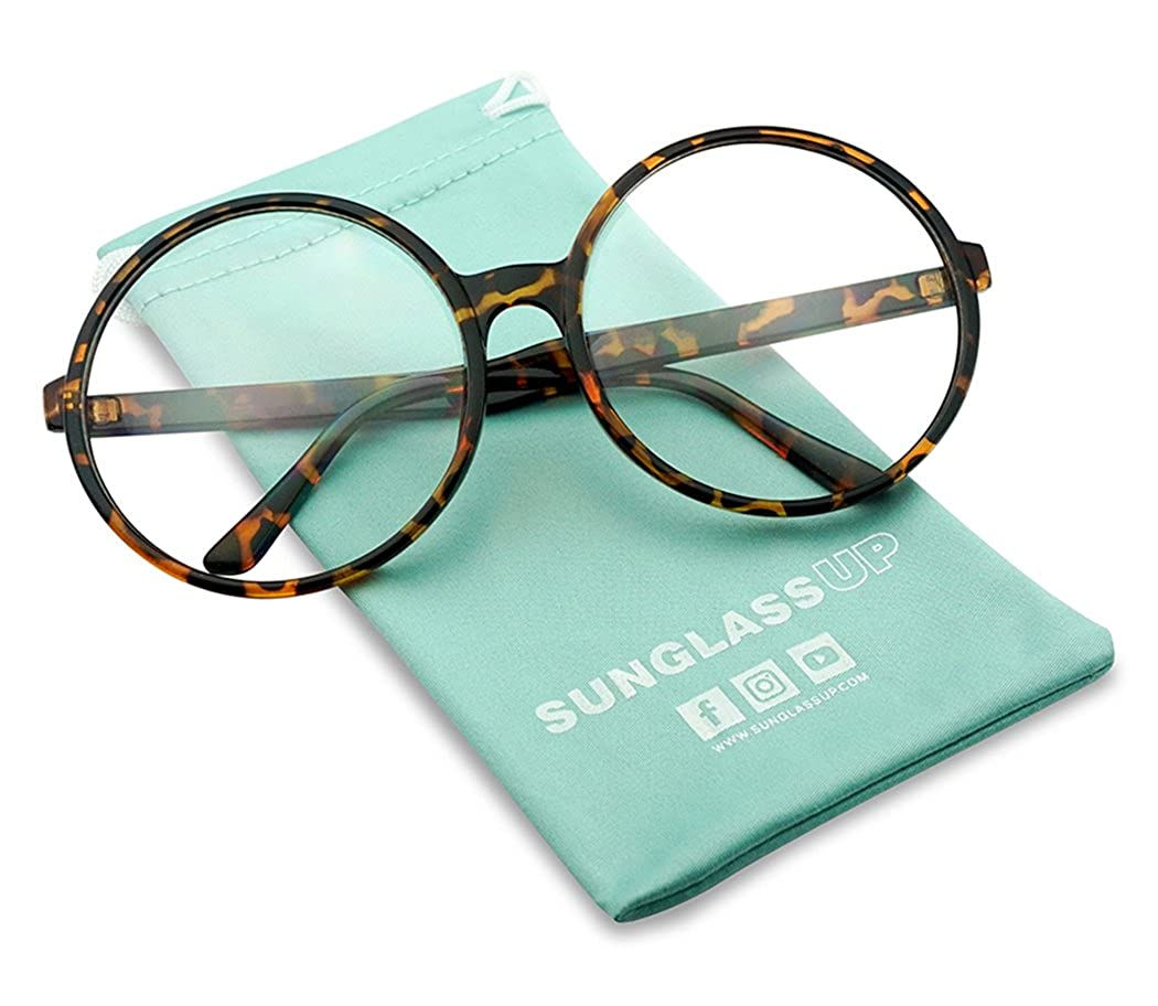 Vintage Inspired Round Super Oversized Clear Lens Fashion Eye Glasses Non-Prescription Clear)