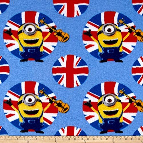 (Fabric & Fabric QT Fabrics Despicable Me Fleece Minions UK Guitars Blue, Gold/Red/Black)