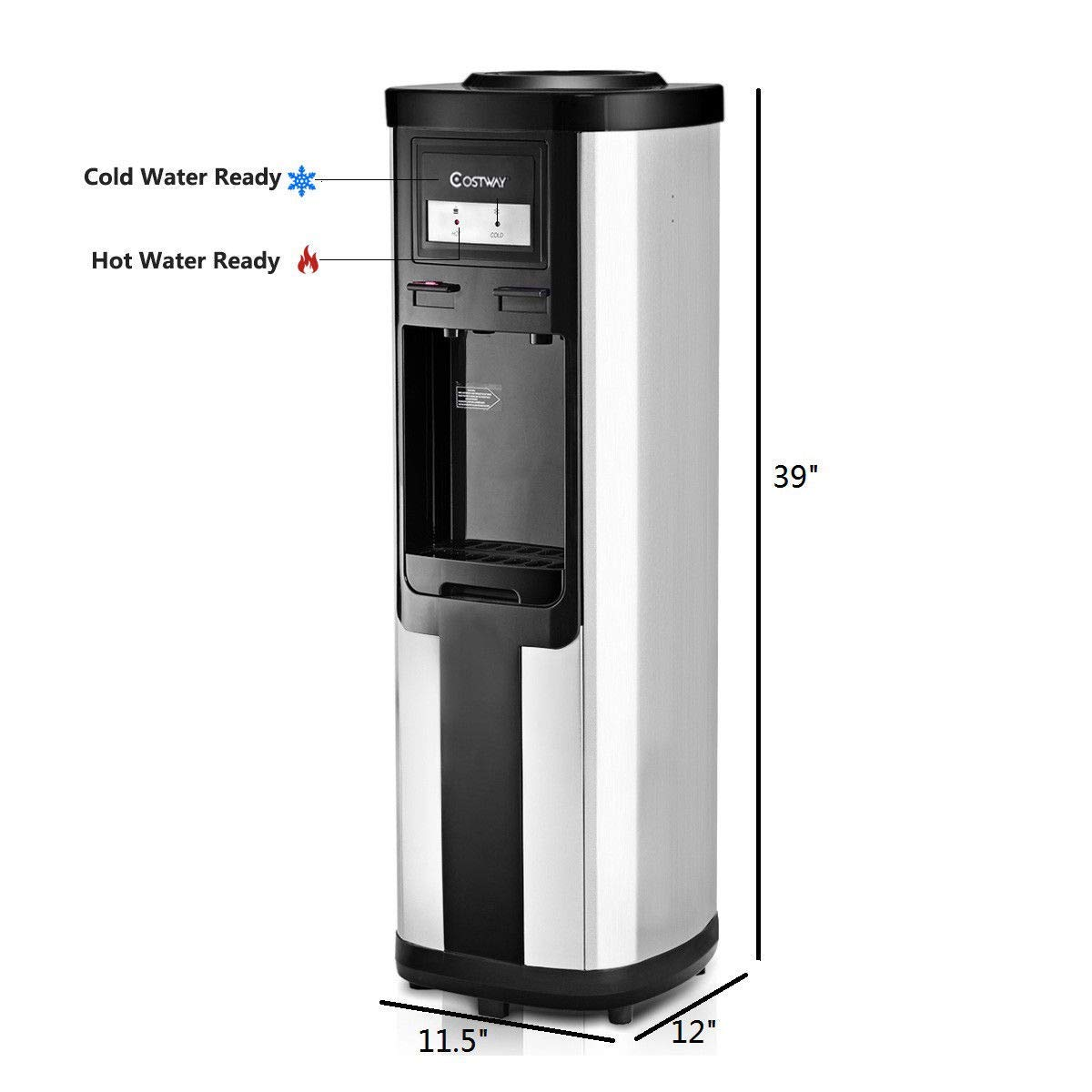 Costway Water Cooler Dispenser 5 Gallon Top Loading Water Dispenser Stainless Steel Freestanding Water Cooler W/Hot and Cold Water (Black and Silver) by COSTWAY (Image #7)