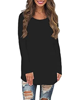 YOTGAP Womens Long Sleeve Shirts Blouses Crew Neck Solid Loose Fit Casual Tunic Tops