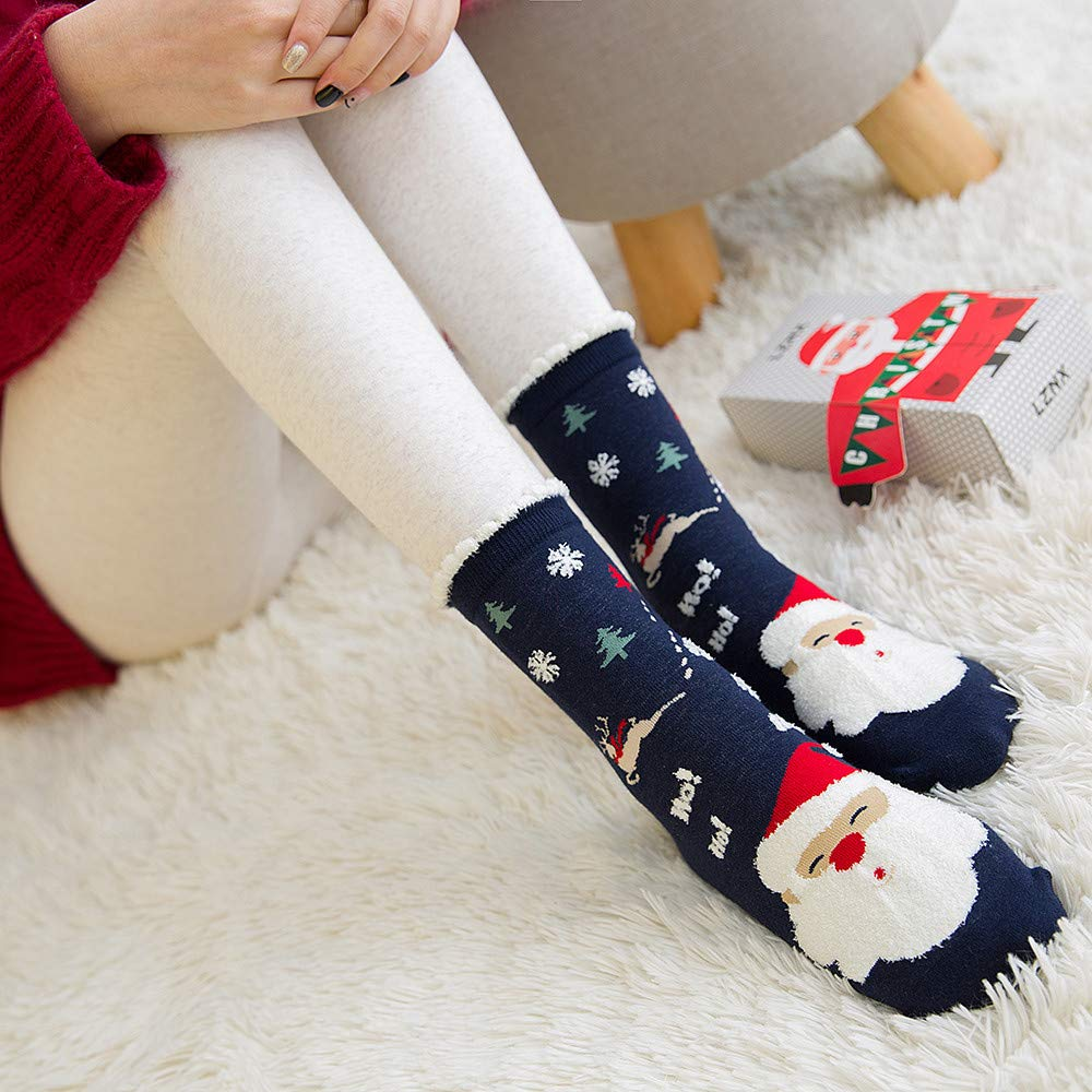 Highpot Womens Wool Cotton Thick Crew Socks Multicolor Christmas Slipper Socks