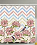 Chevron Shower Curtain Ombre Striped Chrysanthemum Flowers Birds Floral Vintage Classic Nature Decor Bathroom Fabric Shower Curtain Pink Mint Lemon Yellow Blue White
