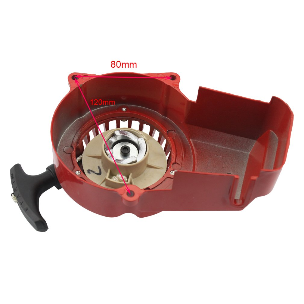 GOOFIT Alloy Pull Start Recoil Starter 2 Stroke 47cc 49cc Pocket Dirt Bike Mini ATV Red
