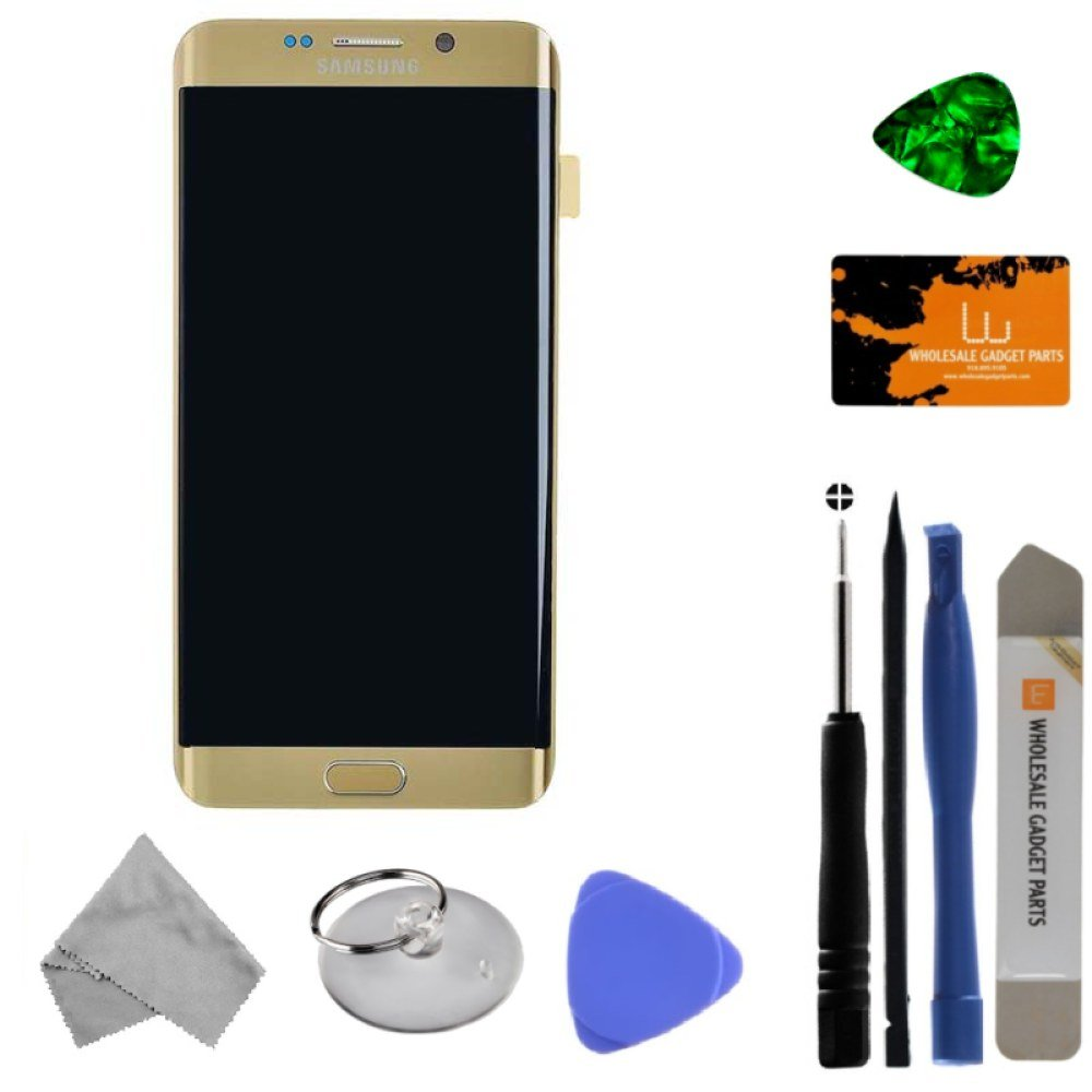 LCD, Digitizer & Frame Assembly for Samsung Galaxy S6 Edge+ (Gold) (OEM) with Tool Kit