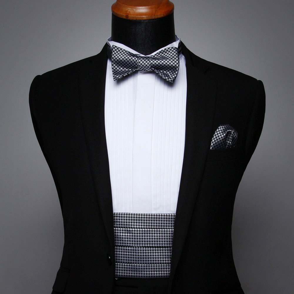 Men's Formal Cummerbund & Bowtie & Pocket Square Set-Various Colors and Patterns CG102LS