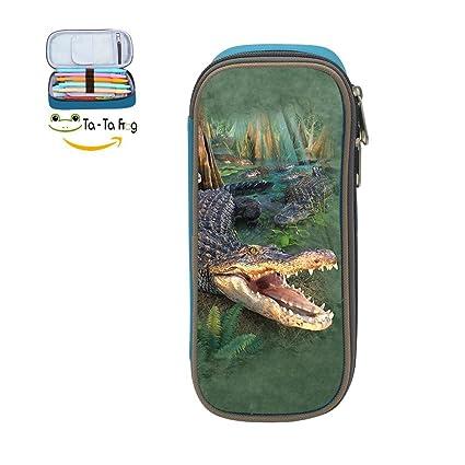 Big Capacity Canvas Key Box Holder For Girl ,Print Gator ,Blue