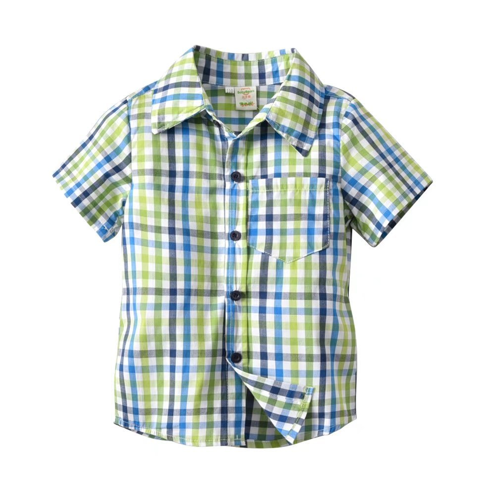 PeeNoke Baby Boy Cotton Short Sleeve Plaid Button-up Sports Shirt (7T CN 140)