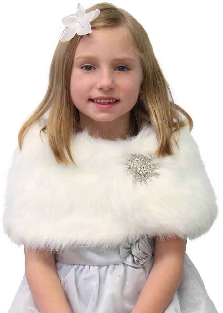 Faux Fur Wedding Wrap Flower Girl Ivory Size Large Free Brooch