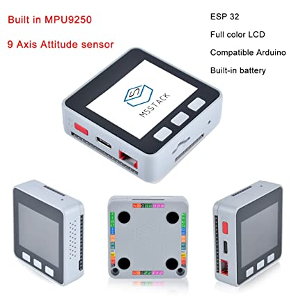 M5Stack Gray Kit 240 MHz Dual Core ESP32 Development Stackable Kit 16 MB  Flash Built-in MPU9250, Integrated 520 KB SRAM Supported Arduino, Blockly