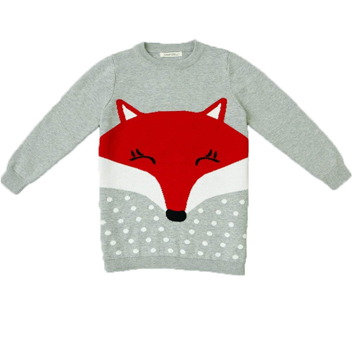 Maylife Little Girls Kids Baby Toddler Round Neck Fox Pineapple Fine Knit Sweatshirt Pullover by Maylife (Image #1)