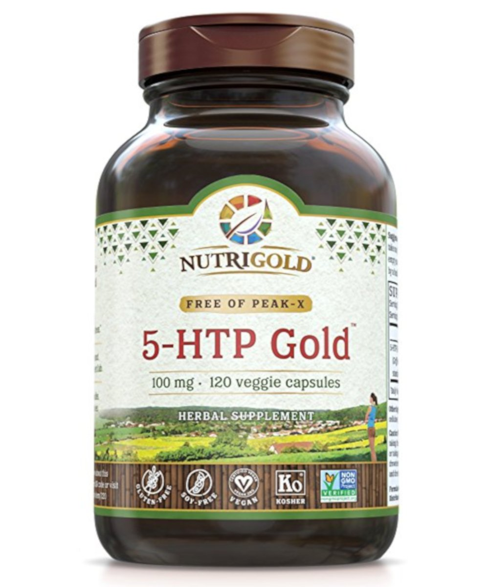 5-HTP 100mg, 120 Vegetarian Capsules - The GOLD Standard Pure 5-HTP Extract Guaranteed Free of Harmful Peak-X, GMOs, and Allergens by Nutrigold