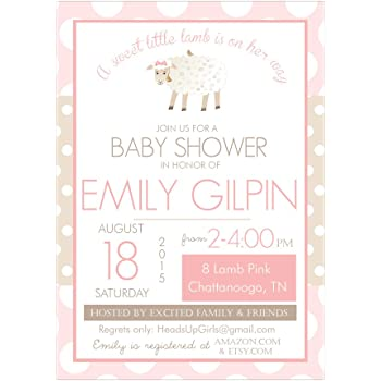 Amazon set of 12 customizable personalized baby shower set of 12 customizable personalized baby shower invitations and envelopes with little lamb in pink nv085 filmwisefo