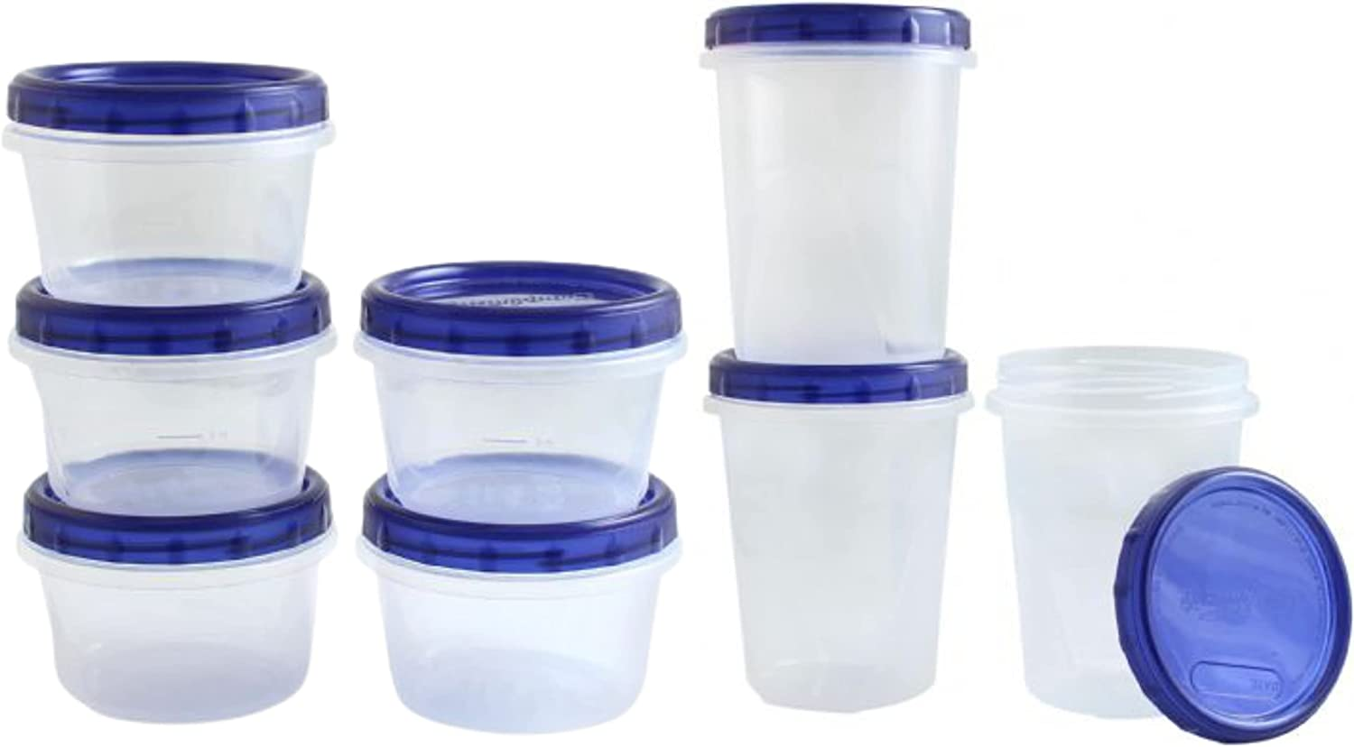 [16 Oz 5 Ct - 32 Oz 3 Ct Combo Pk] Combo Twist Top Food Kitchen Storage Containers Leak-Proof Airtight Soup Storage Canisters with Screw & Seal Lids BPA-Free Stackable Reusable 16 and 32-Ounce