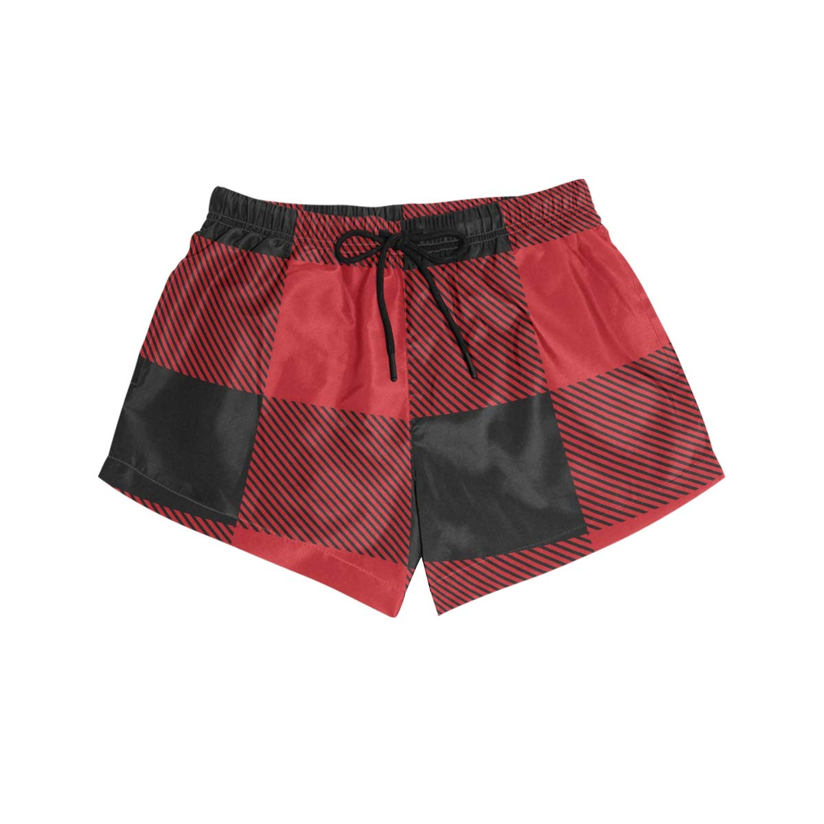 Women Swim Trunks Black Red Big Buffalo Plaid Pattern Classic Beach Board Shorts