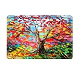 Colorful Rugs Uphome Oil Painting Tree Pattern Flannel Microfiber Bathroom Shower Accent Rug - Colorful Non-slip Soft Absorbent Bathroom Kitchen Floor Mat Carpet