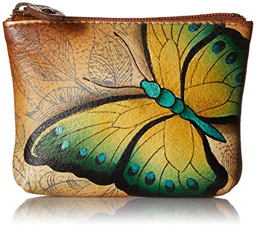 Anuschka Women's Handpainted Leather Coin Pouch,Earth Song Purse, One Size