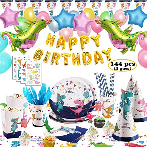 Marte&Joven Dinosaur Party Supplies,144 pcs Dinosaur Themed Birthday Party Favors - Serves 12 Guests