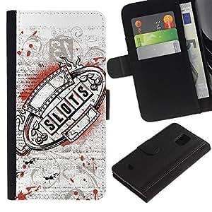 Billetera de Cuero Caso Titular de la tarjeta Carcasa Funda para Samsung Galaxy S5 Mini, SM-G800, NOT S5 REGULAR! / Casino Slots Machine Grunge / STRONG