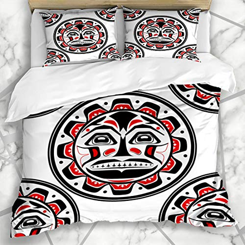 (Ahawoso Duvet Cover Sets Queen/Full 90x90 American Pacific Sun Northwest Aboriginal Canadian Inuit Native Pattern Design Black Microfiber Bedding with 2 Pillow Shams)