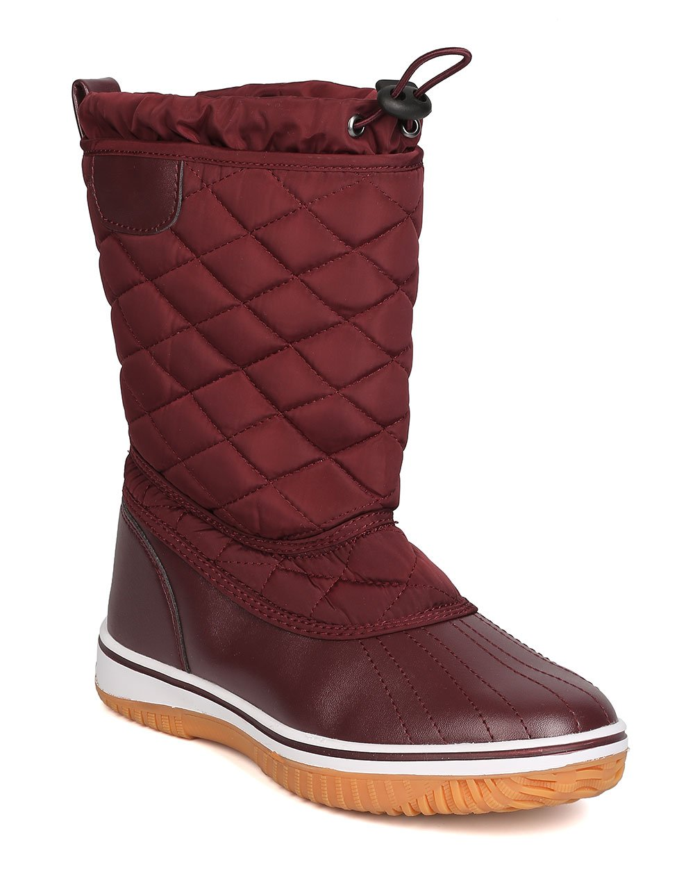 Refresh Women Mixed Media Quilted Drawstring Snow Boot GB12 B01N1SILH8 8 M US|Burgundy