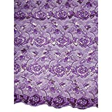 Premier African Top Quality Guipure Lace Purple Shinning Flower Church p4008_5
