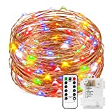 String Lights, Kohree Dimmable Starry Rope Lights with Remote Control, 40Ft Flexible Copper Wire, Multi-color 120 LEDs Battery Operated Fairy Lights, Perfect for Weddings, Party, Holiday