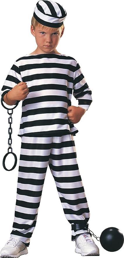 Disfraz de Preso para niño, presidiario a rayas, infantil 3-4 años (Rubies 881917-S)