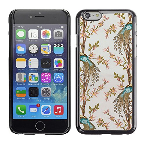 Soft Silicone Rubber Case Hard Cover Protective Accessory Compatible with Apple iPhone? 6 (4.7 Inch) - teal bird floral pattern flowers wallpaper