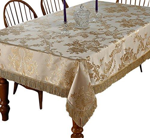 """Violet Linen Majestic Damask Design Tablecloth, 60"""" x 140"""", Beige"""