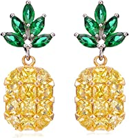 Ztuo Yellow/Pink Crystal Pineapple Tropical Fruit Pendant Necklace Stud Earrings Set Unique Fashion Gift