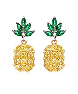 Ztuo Yellow Crystal Pineapple Tropical Fruit Novelty Stud Earrings Set Unique Best Gifts For Women Girls