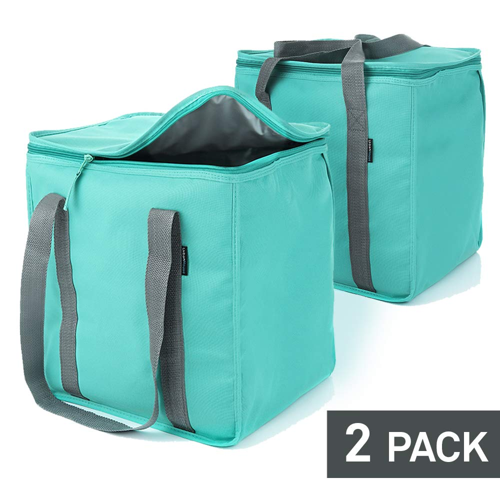 """Urban House (2-Pack) Premium Grade Insulated Grocery Shopping Cooler Bag with Heavy Wall Insulation and Zipper Top Lid Keeps Food Cold or Hot, Large (13"""" W x 9"""" D x 13"""" H) 6.5 Gallon capacity"""