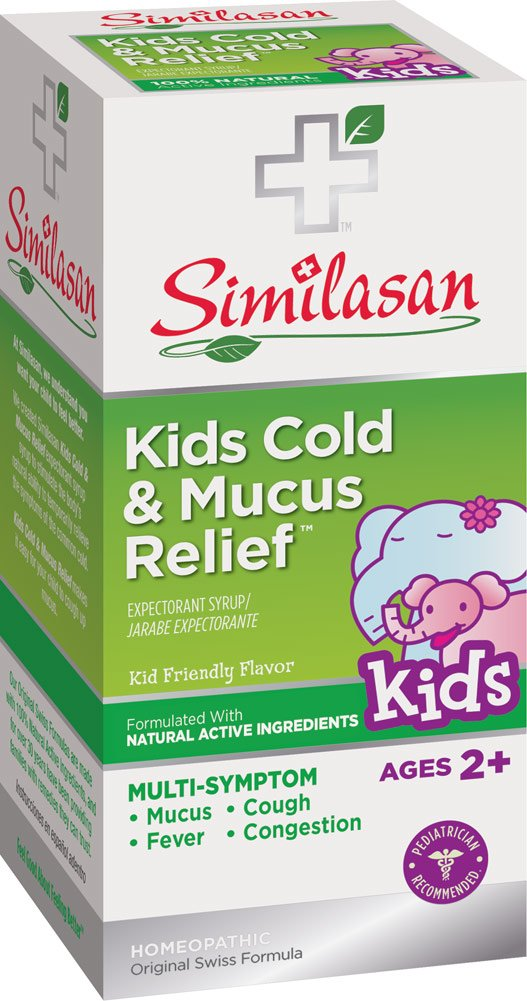 Similasan Kids Cold & Mucus Relief Syrup Plus Echinacea for Immune Support 4 oz, for Cough, Mucus, Congestion in Children Ages 2 and Up, Formulated with Natural Active Ingredients
