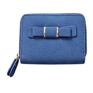 Toamen Mini Cartera De Mujer Bolso De Embrague De Arco Monedero De Estudiante (Azul)